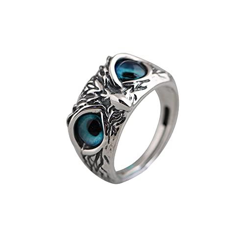 925 Sterling Silber Demon Eye Owl Ring, Demon Eye Owl Ring, Eye Owl Ring Verstellbar, Cute Owl Fingerring, Retro Animal Open Verstellbarer Ring für Frauen Und Männer