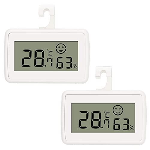 Thlevel Mini LCD Digital Thermometer Hygrometer Innen Temperatur Luftfeuchtigkeit Tester mit Max/Min Datensätze für Kühlschrank Küche, Restaurant, Babyzimmer, Wohnzimmer, Büro (2 Stücke)