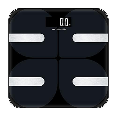 AOSNTEK Báscula de Grasa Corporal, Bluetooth Inteligente, Detección de Datos múltiples, Datos de sincronización de Aplicaciones móviles, Pantalla LED HD, Máquina de conmutación automática, Negro