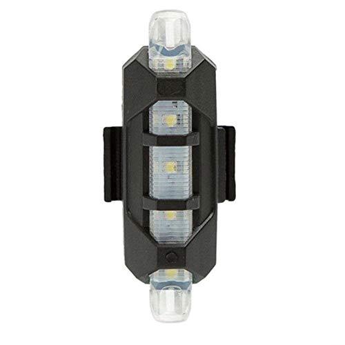 USB Bicicleta luz Trasera Advertencia Recargable 5 LED luz Trasera Seguridad Ciclo de luz Super Brillante Linterna de la Bicicleta luz de Flash (Blanco)