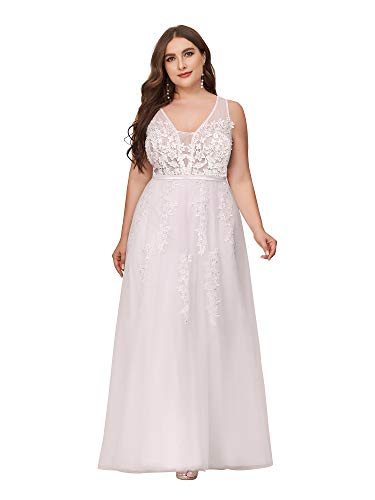 Ever-Pretty Women's V-Neck Lace Appliques Tulle Plus Size Special Occasion Dress White US18