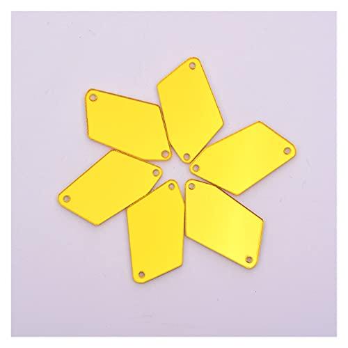 BOSAIYA Sx Tamaño de Mezcla de 50 unids Espejo acrílico Transparente Rhinestones Irregular Cosido en Cristal Strass de Espalda Plana para Vestido de Tela Costura T118 (Color : Gold)
