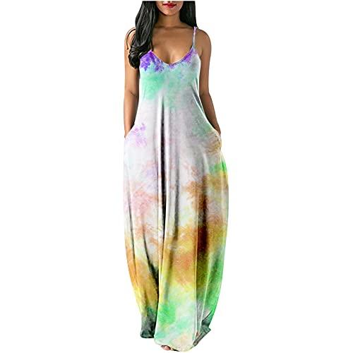 Vestido de verano para mujer, estilo bohemio, retro, de manga larga, para la playa, floral, sexy, ajustado, a rayas, sin mangas, talla grande, Mujer, verde, medium
