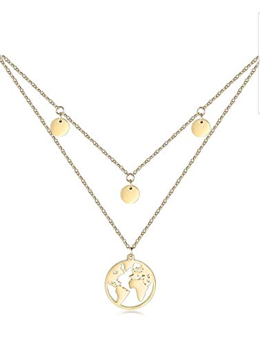 World Globe Necklace with 3 Plates I Multi-Row Women's Necklace with World Chain Rose Gold with Round Pendant for Women Necklace Double Layer Chain