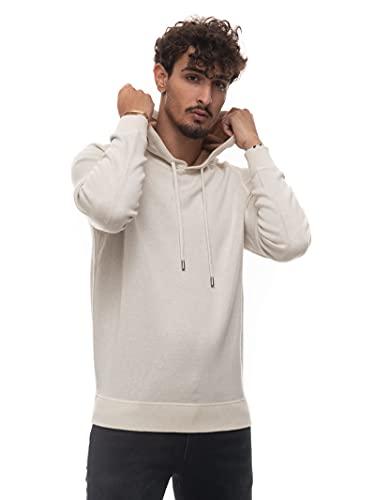 BOSS Sudadera con capucha para hombre de algodón y lana con interior de contraste., Blanco, M