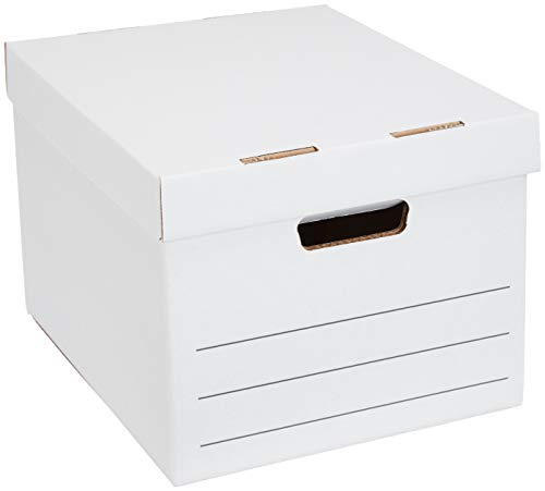 Amazon Basics Medium Duty Storage Filing Box with Lift-Off Lid - Pack of 12, Letter / Legal Size
