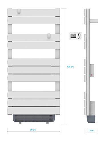 VOLTMAN VOM540026 - Sèche serviettes Sec - Barres Plates - 500 Watts + Soufflant 1000 Watts - Programmable - Ecran LCD rétro éclairé
