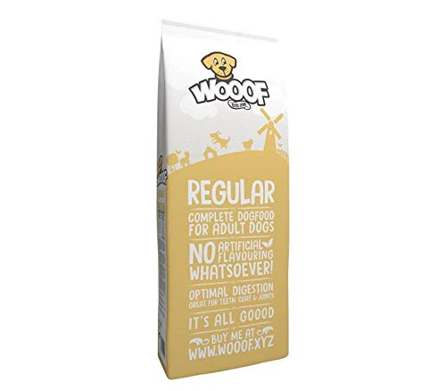 WOOOF Regular 14 kg (1,71?/ kg) | kaltgepresstes Hundefutter | Trockenfutter mit Rindfleisch | leicht verdaulich, weizenglutenfrei | hoher Fleischanteil | 25% rohprotein