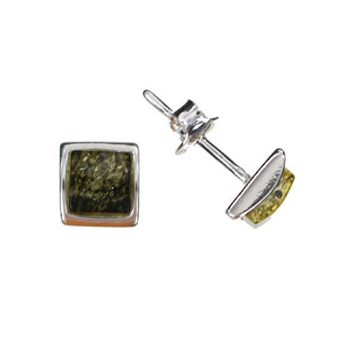 Modernos pendientes verdes con ámbar natural de Artisana, pequeños pendientes cuadrados de plata de ley 925/000.