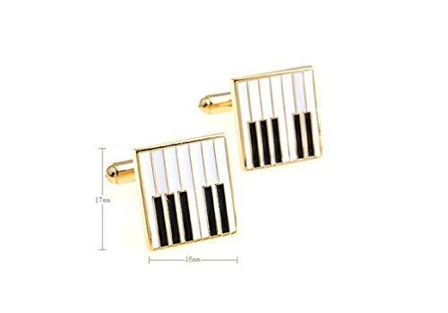 DOLOVE Hemd mit Manschettenknöpfe Herren Personalisiert Klavier Manschettenknöpfe in Gold