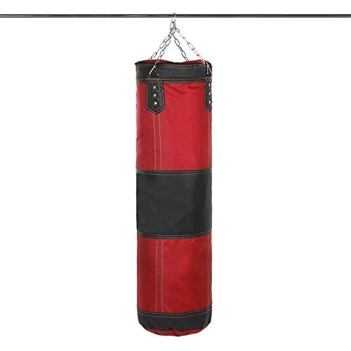 Belleashy Boxsack, 60/80/120 cm, Leder, Boxtraining, Boxsack, zum Aufhängen, leer, schwerer Sandsack, Zielscheibe, Heimtrainer (Größe: M, Farbe: Rot und Schwarz)