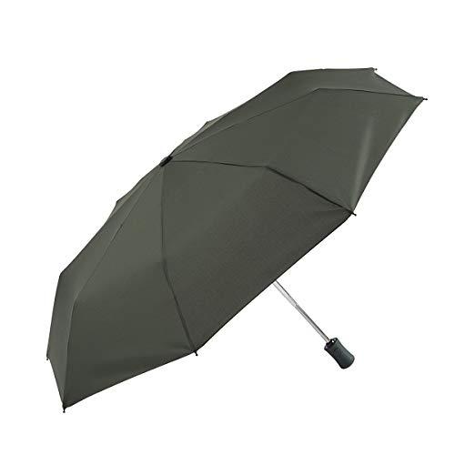 EZPELETA Paraguas Plegable antiviento de Mujer, Abre-Cierra automático con puño Recto. Tejido Liso Colores - Verde Oscuro, 192