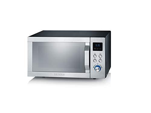 SEVERIN MW 7755 3-in1 Mikrowelle (900 W, mit Inverter-Technologie, Grill- und Heißluftfunktion, Inkl. Drehteller, Grillrost und Pizza-Teller) edelstahl/schwarz