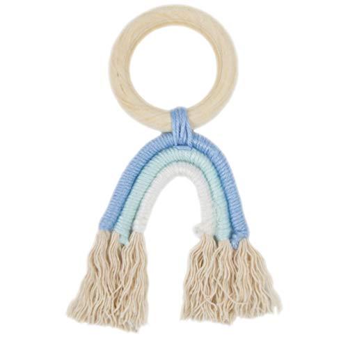 Amosfun Anillo mordedor de madera natural de algodón orgánico, para bebés, juguete para morder para recién nacidos, regalo para niños pequeños, pulsera de lactancia (azul)