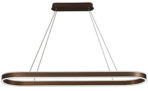 Chandelier Candelabro LED regulable Anillo de aluminio Luces colgantes ovaladas Techo Acrílico Lámpara de techo Lámparas Fuente de luz LED Incluye fuente de luz Control remoto Luces colgantes (Marrón)