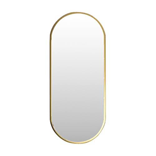 Nordic Metal Espejo para Colgar en la Pared Espejo Ovalado para Maquillaje Espejo de baño HD (Dorado) Creativo Moderno con Fijaciones Colgantes