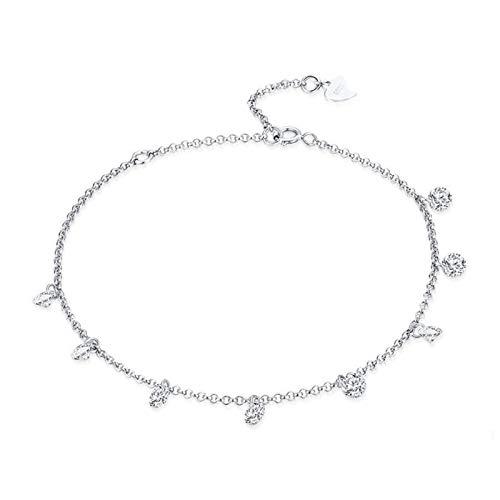 Wh1t3zZ1 Pulsera Mujer Pulsera de Cadena Ajustable de Plata esterlina 925 Adecuada joyería de Las Mujeres