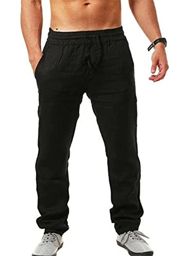 RJJ Linnen broek Mens,Casual Loose Fit Trekkoord Elastische Taille Lichtgewicht Plain Lounge Broek - zwart - L