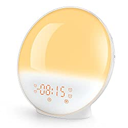 【2021 Upgrade】 Sunrise Alarm Clock Smart Wake up Light Work with Alexa, Sleep Aid Digital Alarm Clock with Sunset Simulation, Snooze/FM Radio /7 Natural Sounds and 4 Alarms for Adults & Kids