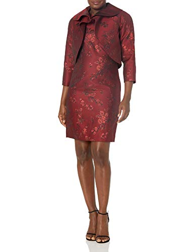 Tahari ASL Women's Wrap Jacket and Dress Set Suit, Red Tonal Floral Jacquard, 22