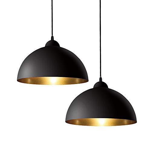 ERWEY 2x Industrielle Vintage Pendelleuchte LED Retro Hängeleuchte 25cm mit E27 Fassung Eisen Lampenschirm für Esszimmer Wohnzimmer Restaurant Keller Untergeschoss usw. (Schwarz-Gold, 25cm)