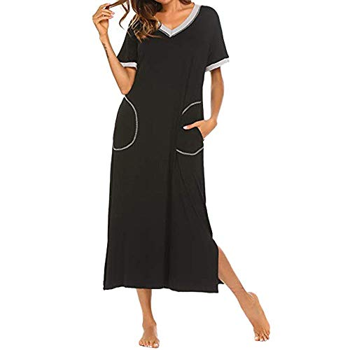 HUANSUN Vestidos de Mujer Boho Vestido Largo de Manga Corta Camisón de Verano Camisón Vestido de Dormir Completo Ultra Suave, Negro, XXL