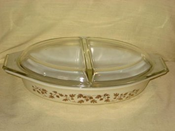 Vintage Corning Pyrex 1960 GOLDEN ACORN 1 1/2 Quart Divided Cinderella Casserole Baking Dish w/ Clear Lid