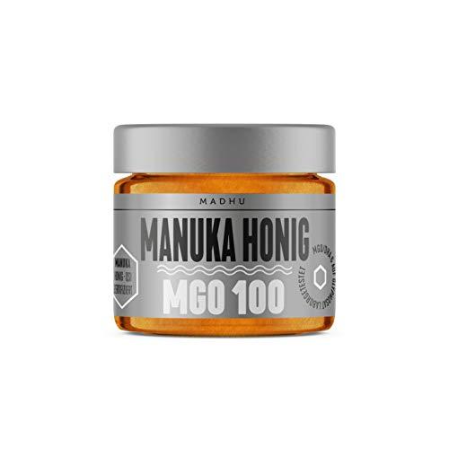 Manuka Honig 100+ MGO im hochwertigen Glas - Direkt vom Imker aus Neuseeland - zertifizierter Methylglyoxal-Gehalt (150g) - inklusive GRATIS Manuka Guide