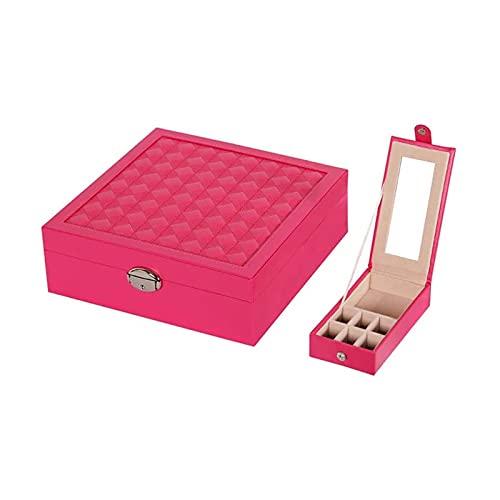 LSLS Caja joyero Caja de joyería de Viaje, PU Caja de joyería de Cuero Organizador Caja de Almacenamiento con Cerradura de Regalo para Mujeres con Reflejo Grande y bandejas Organizador de Joyas