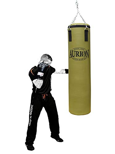 Aurion Rex Leather Unfilled Heavy Punch Bag 2 ft 3ft 4ft 5ft Boxing MMA Sparring Punching Training Kickboxing Muay Thai with Hanging Chain (Olive Green, 4 Feet (Unfilled))