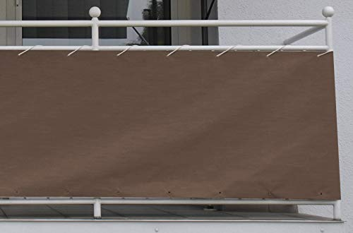 Angerer Style Toile de Balcon 75 cm Hoch, 600 cm Lang Marron