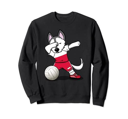 かわいい踊るハスキー犬 ポーランド バレーボールファン - ポーランドの旗 Dog Poland Volleyball トレーナー