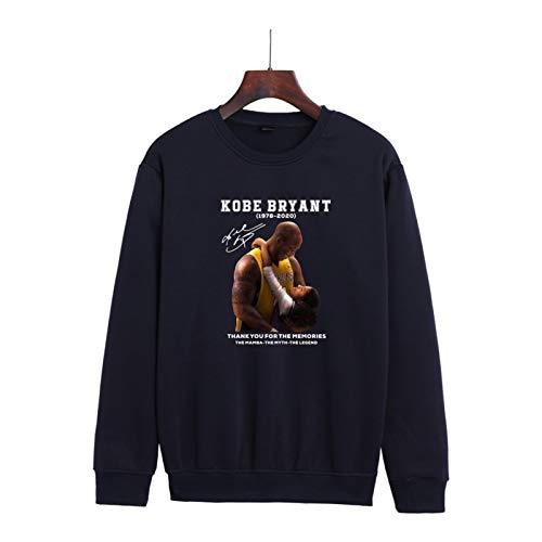 Bryant Ropa Conmemorativa Nueva Casual Suelto Hombres y Mujeres Forro Polar Cuello Redondo Suéter Suéter Jersey Moda Chaqueta Jersey Negro XXS