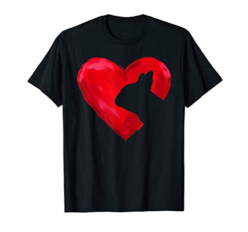 French bulldog Heart silhouette Valentine's Day Dog Lover T-Shirt