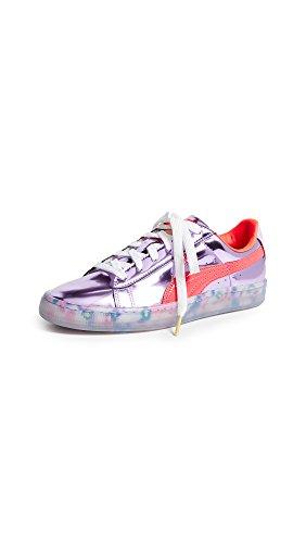 PUMA Women's x Sophia Webster Basket Candy Princess Sneakers, Metallic Pink/Fiery Coral, 6.5 M US