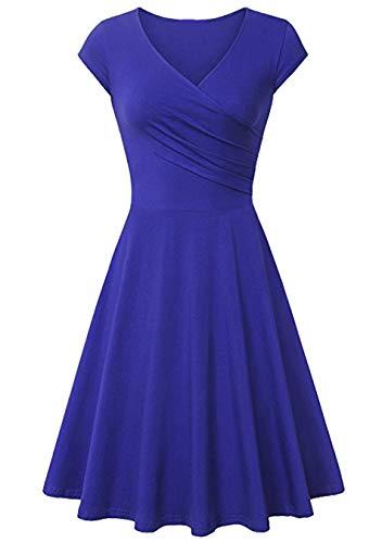 EFOFEI Vestido De Mujer De Manga Corta Midi Vestido De Oscilación Casual Azul Real L
