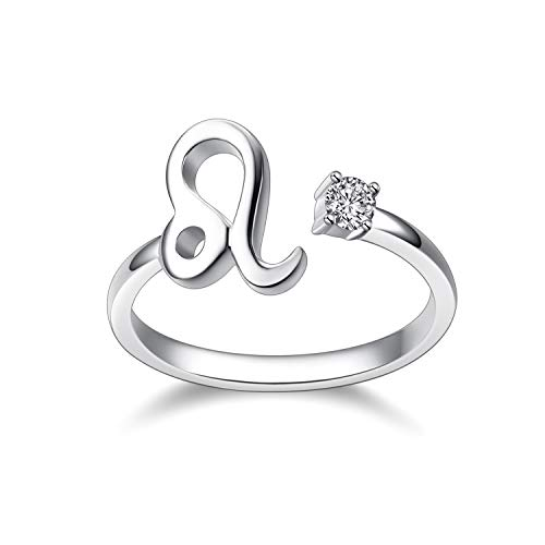 925 Sterling Silver Zodiac Sign Rings 12 Constellation Astrology Adjustable Cute Ring (Leo)