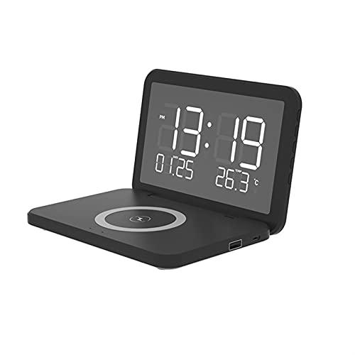 Tik LP Réveil LED, Réveil Chargeur sans Fil, Charge sans Fil Qi pour Téléphone, Compatible avec IPhone, Samsung, Android (Color : Noir)