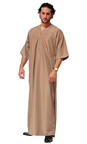 Desert Dress - Boubou Marocain Arabe Homme DishDash Jubba Habit de Prière - Beige, 62