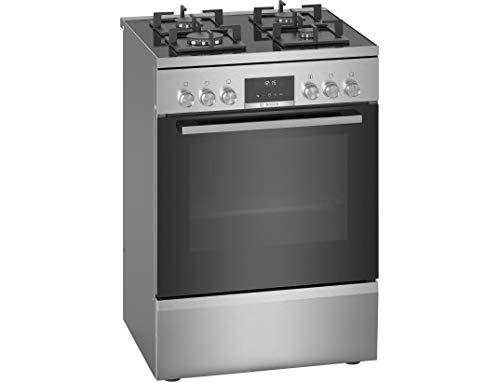 Cuisiniere gaz Bosch HWS59IE50 - Cuisinière 60 cm Inox - Table de cuisson Gaz - Four Electrique 66 litres - Nettoyage EcoClean - Classe énergétique A