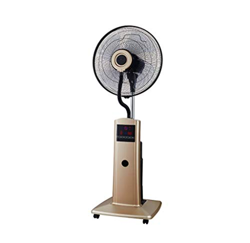 LJYY Ventilador de Pedestal para construcción de fábrica Spray Ventilador Industrial Agua Nebulizada Humidificación Refrigeración Comercial con polea 100 Watts Tyrant Gold
