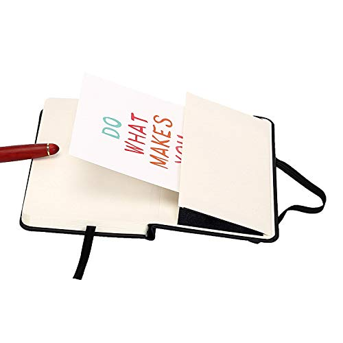 """ZZTX Small Pocket Notebook 3.5"""" x 5.5"""" Hardcover Bound Journal Lined Paper Mini Notepad with Black Leather Bound for Journal Sketchbook Composition Notebook"""