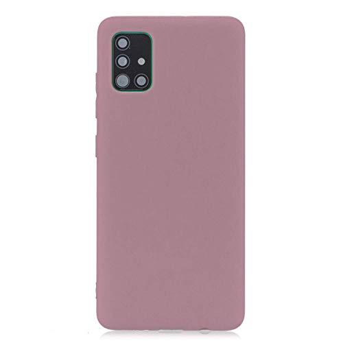 cuzz Funda para Samsung Galaxy A71+{Protector de Pantalla de Vidrio Templado} Carcasa Silicona Suave Gel Rasguño y Resistente Teléfono Móvil Cover-Rosa