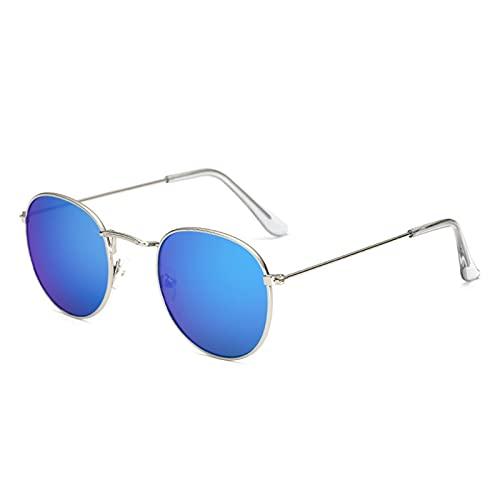 Gafas de sol unisex unisex retro con ojos de gato de metal espejado y planas., azul, Talla única
