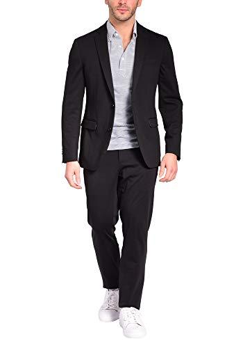 Craft & Soul Men's Slim Fit 2 Piece Jacket Pants Lightweight Casual Knit Suit Black