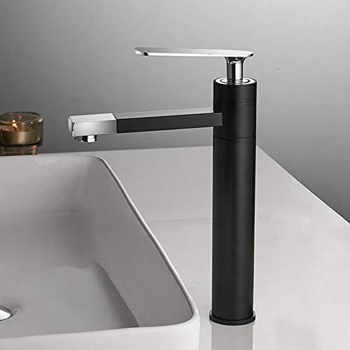 Grifo para lavabo de baño, lavabo, lavabo, lavabo, lavabo, grifo de agua, caliente, agua fría, grifo, mezclador, grifo mezclador de fregadero, cromado negro y cromado (color: alto cromo negro)