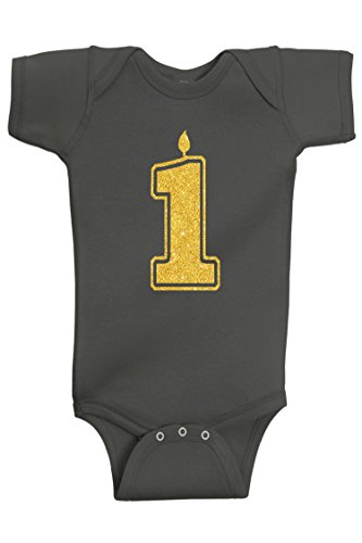 Aiden's Corner Baby Boy First Birthday | Handmade Bodysuits & Shirts | 1st Birthday Gold and Silver Flake Outfits (1 Gold Charcoal, 12 Months)