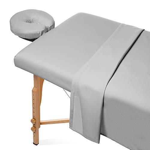 Saloniture 3-Piece Microfiber Massage Table Sheet Set - Premium Facial Bed Cover - Includes Flat and Fitted Sheets with Face Cradle Cover - Light Gray