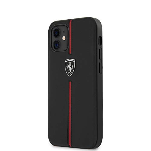 Ferrari Phone Case for iPhone 12 Mini Genuine Leather Hard Case Off Track with Contrasted Stitched Nylon Middle Stripe