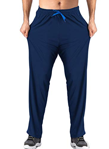 Wohthops Running Sweatpants Man Basketball Pants Gym Pants Yoga Pants Joggers Pants for Men with Zipper Pockets Elastic Waist Straight Leg, Navy Blue 1, 40